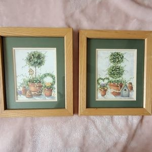 Set of 2 8x7 framed topiary prints w hangers